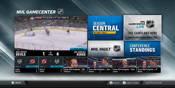 NHL Game Center sur Xbox LIVE
