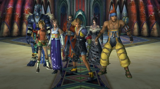 Yuna (3e à gauche) et ses protecteurs (de gauche à droite) : Kimahri, Rikku, Auron, Tidus, Lulu et Wakka