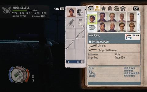 Le menu offre tous les renseignements nécessaires sur chacun des personnages