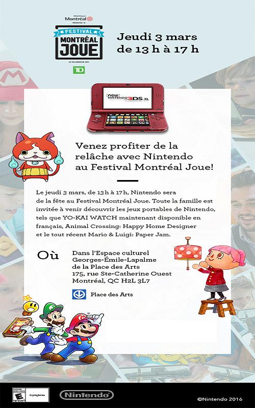 Passez la semaine de relâche avec Nintendo au Festival Montréal Joue